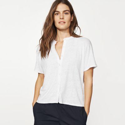 Organic Linen Jersey Mandarin Collar Shirt