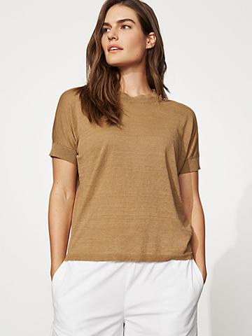 Organic Linen Cotton Crew Neck Top