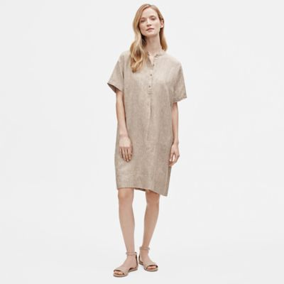 Washed Organic Linen Delave Mandarin Collar Shirtdress