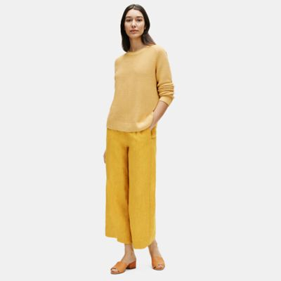 Washed Organic Linen Delave Wide-Leg Pant