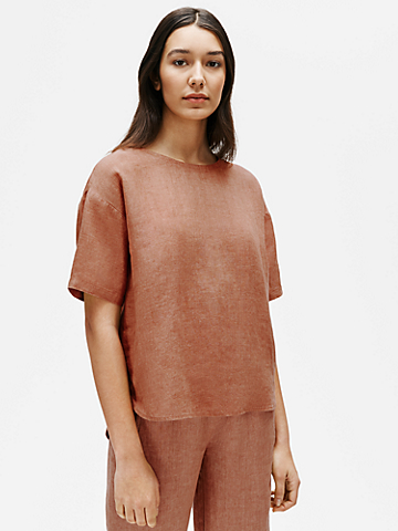 Washed Organic Linen Delave Box-Top