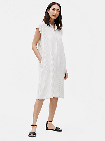 Silk Crepe de Chine Striped Shirtdress