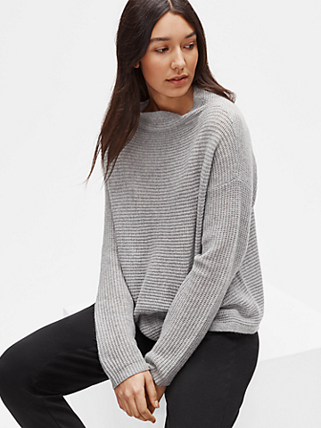 Italian Cashmere Funnel Neck Box-Top