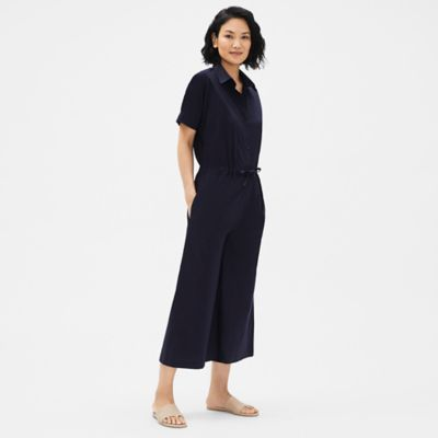 Organic Cotton Poplin Wide-Leg Jumpsuit