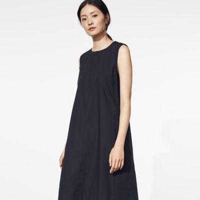 Organic Cotton Poplin Zip Neck Dress