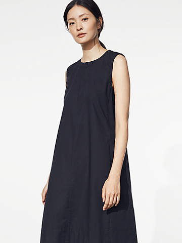 Organic Cotton Poplin Zip Neck Dress