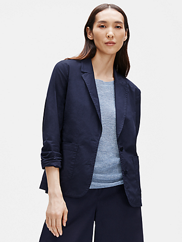 Organic Cotton Poplin Shaped Blazer