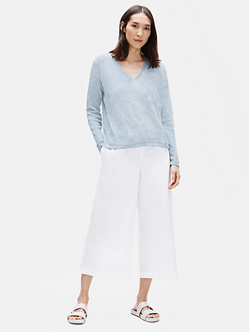 Organic Cotton Poplin Wide Cropped Pant