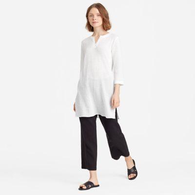 Organic Cotton Voile Split Neck Tunic