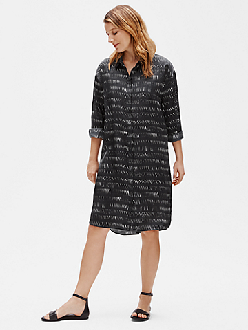 Silk Organic Cotton Dash Shirtdress