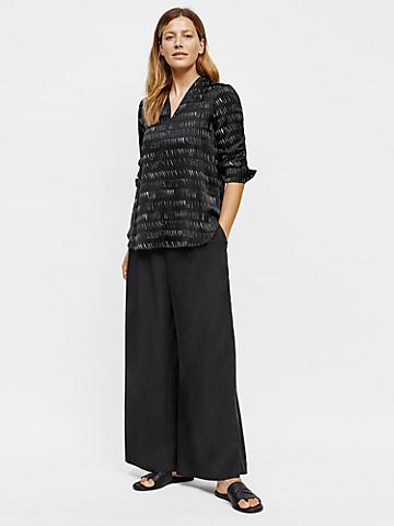 Silk Organic Cotton Dash V-Neck Shirt
