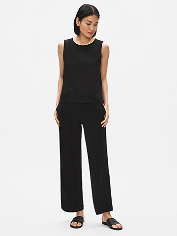 Organic Cotton Stretch Wide-Leg Pant