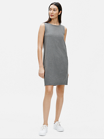 Heathered Organic Cotton Stretch Lantern Dress