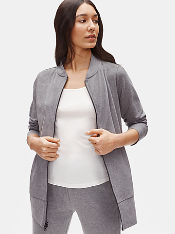 Heathered Organic Cotton Stretch Flight Jacket