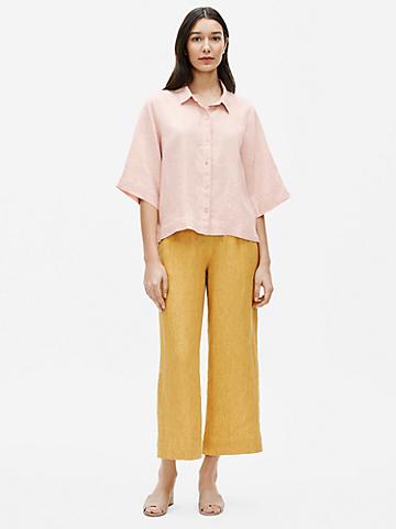 Organic Handkerchief Linen Elbow-Sleeve Shirt