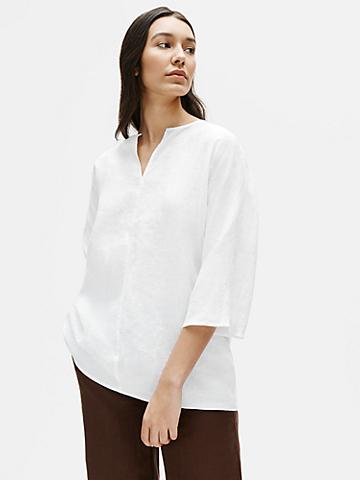 Organic Handkerchief Linen Split Neck Tunic