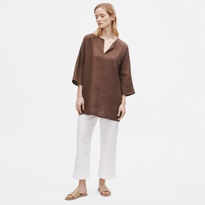 Organic Handkerchief Linen Split Neck Tunic