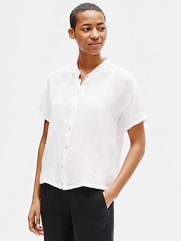Organic Linen Gauze Mandarin Collar Shirt