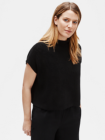 Organic Linen Cotton Funnel Neck Box-Top