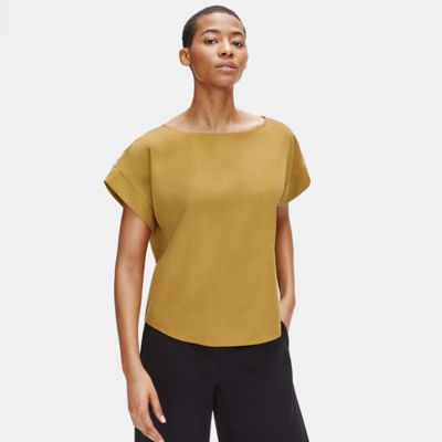 Sandwashed Tencel Bateau Neck Top