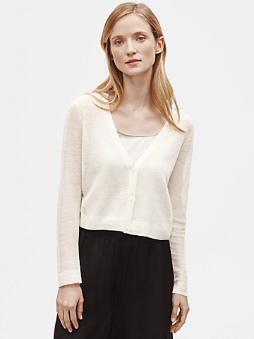 Organic Linen Crepe Cropped Cardigan