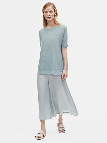 Organic Linen Crepe Bateau Neck Tunic