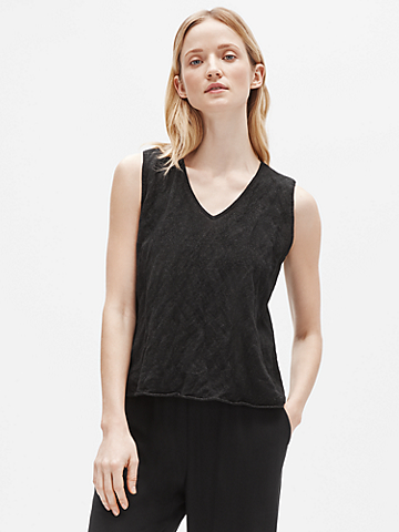Tencel & Metal V-Neck Shell