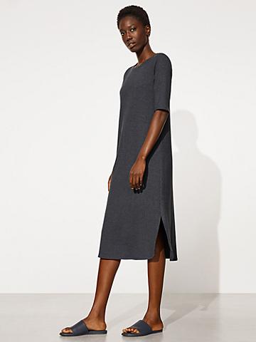 Tencel Rib Crew Neck Dress