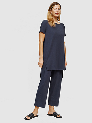 Tencel Rib Wide-Leg Pant