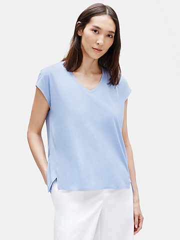 Organic Cotton Jersey V-Neck Tee