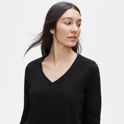 Organic Cotton Jersey V-Neck Top