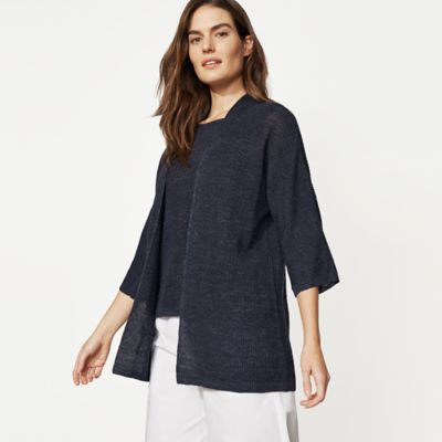 Organic Linen Melange 3/4-Sleeve Cardigan