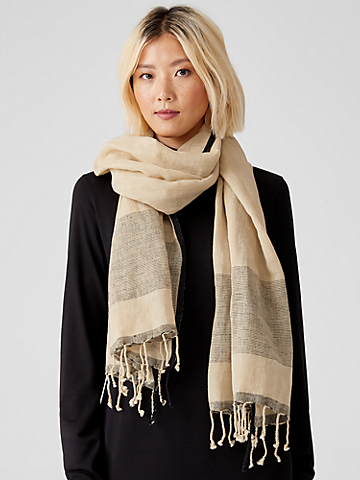 Organic Linen Cotton Striped Scarf