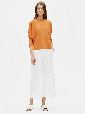 Organic Linen Cotton Striped Wide-Leg Pant