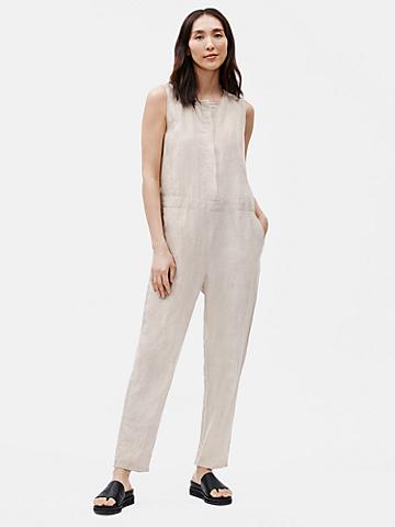 Organic Linen Round Neck Jumpsuit