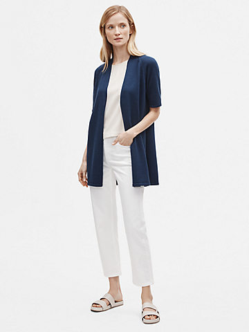 Organic Linen Cotton Short-Sleeve Cardigan
