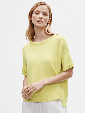 Organic Linen Cotton Scoop Neck Box-Top
