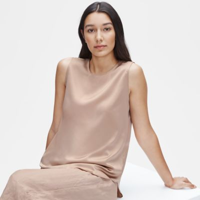 Stretch Silk Charmeuse Round Neck Shell