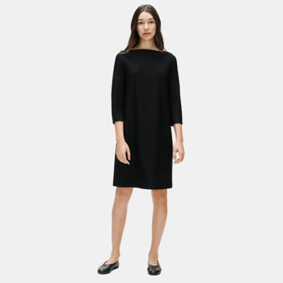 Washable Stretch Crepe Shift Dress