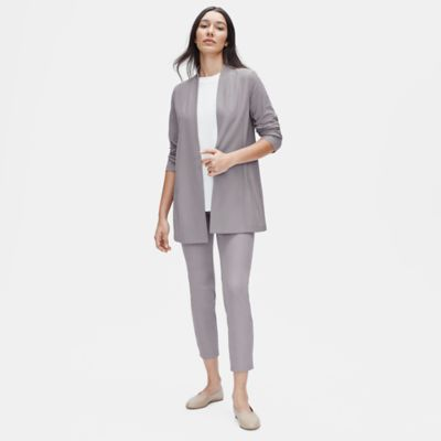 Lightweight Washable Stretch Crepe Long Jacket