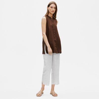 Organic Linen Check Straight Pant