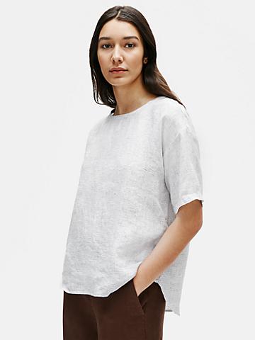 Organic Linen Check Box-Top