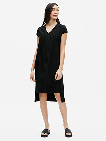 Wide Rib Stretch V-Neck Dress