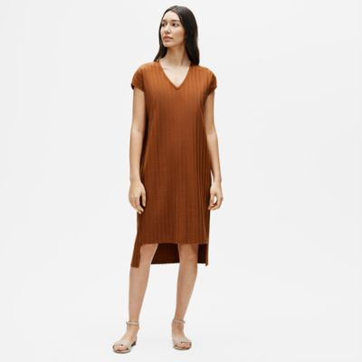 Tencel Wide Rib V-Neck Dress