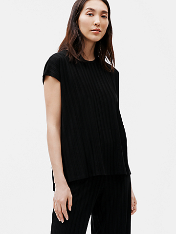 Tencel Wide Rib Crew Neck Top