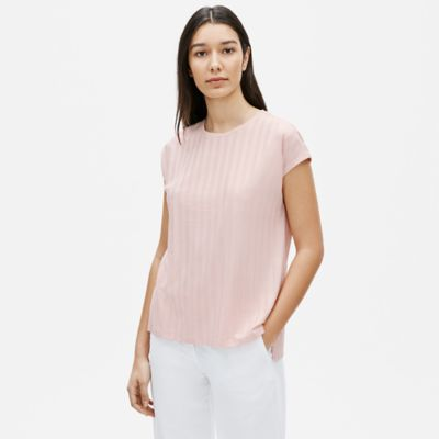 Tencel Rib Crew Neck Top