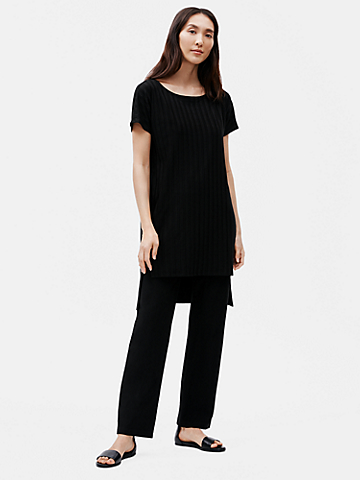 Tencel Wide Rib Bateau Neck Tunic