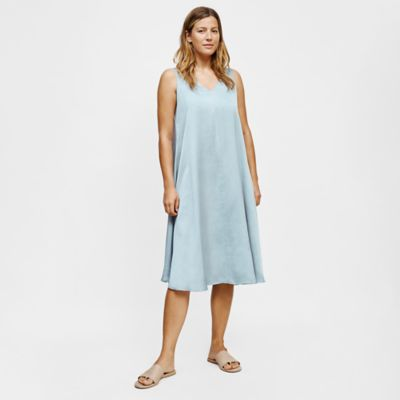 Washed Silk Organic Cotton V-Neck Dress
