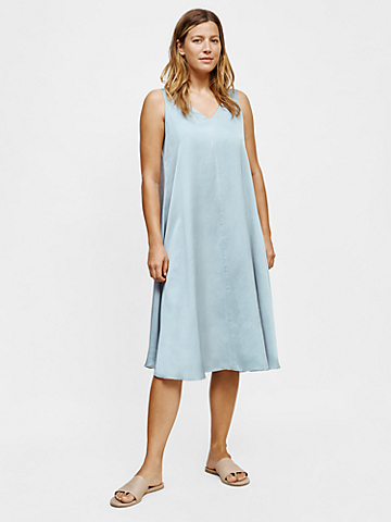 Washed Silk Organic Cotton V-Neck Dress