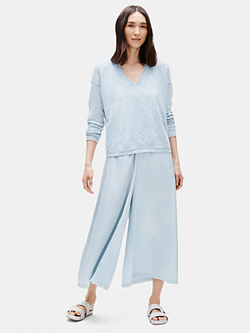 Washed Silk Organic Cotton Culotte Pant